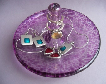 Hand Blown Art Glass Jewelry Dish and Holder