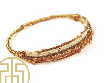 Champagne Wire Wrapped Bracelet, H13-43
