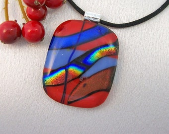 Red-Orange and Blue Dichroic Pendant, Necklace - Fused Jewelry - Dichroic Jewelry - 159-13