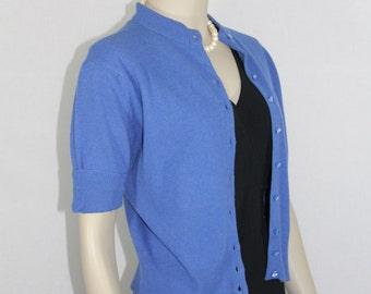 SALE.....Vintage Short Sleeve Sweater - 1960s Blue Short Sleeve Sweater - 42 / 32