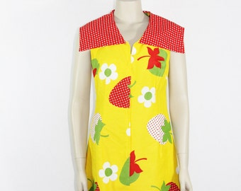1960's Dress - Fun and Funky Bright Yellow with HUGE Strawberries and Flowers- 38 / 31/ 40