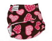Fitted Cloth Diaper, OS, Flannel - Hearts, pink, polka dot