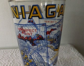 Vintage Hazel Atlas Niagara Falls Canada Souvenir Drinking Glass Tumbler Retro Travel Vacation Road Trip