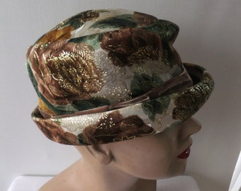 Vintage Hat French Room Stix Baer & Fuller Designer Cream Green Brown Gold Floral Retro Accessoris