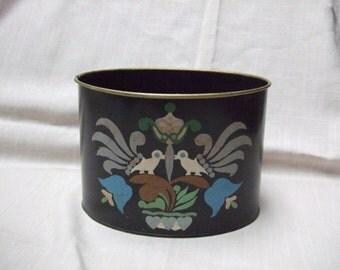 Hand Painted Oval Desk Tin Folk Design