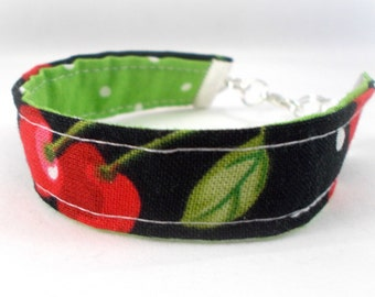Cherry Bracelet, Fabric Bracelet, Cherry Jewelry. Gifts Under 10, Black and Red, Lime Green, Polka Dot, Cute Bracelets, Tween Jewelry