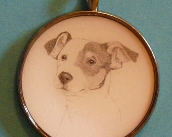 Jack Russell Terrier Original Pencil Drawing Pendant with Organza Pouch -Choice of Necklaces -Free Shipping- Desert Impressions