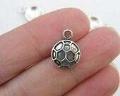 BULK 50 Soccer ball charms antique silver tone SP34