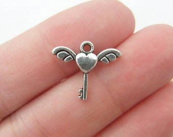 12 Heart and angel wing key charms antique silver tone K25