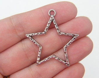 6 Star charms antique silver tone S28