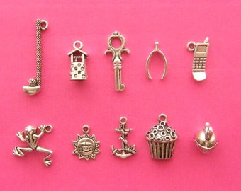 Cake Pull 4 - 10 different antique silver tone charms