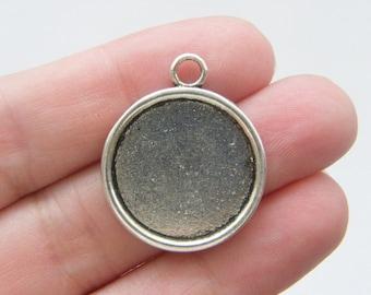 4 Frame cabochon pendants antique silver tone