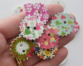 50 Christmas buttons 2 holes 24mm wood