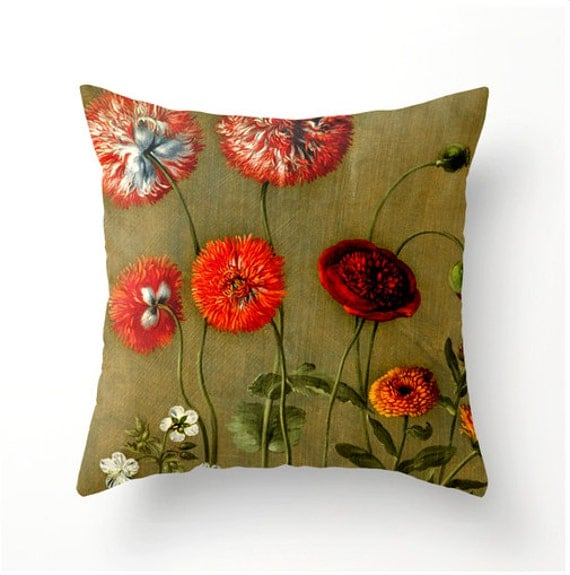Items similar to Throw Pillow - Vintage Red Floral design - home decor - botanical accents ...