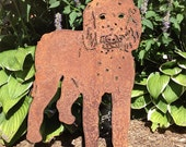 Golden-doodle Garden Stake or Wall Art / Memorial / Garden Art / Garden Decor / Yard Art / Pet Memorial / Rusty / Shadow / Cut Out / Metal