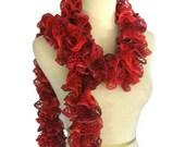 Sale Ruby Red Scarf, Knit Scarf, Ruffle Scarf, Hand Knit Scarf, Womens Scarf, Fashion Scarf, Lacy Scarf, Fiber Art, Winter Scarf,