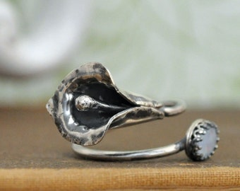 sterling silver CALLA LILY RING antiqued sterling silver calla lily flower ring with genuine black opal stone