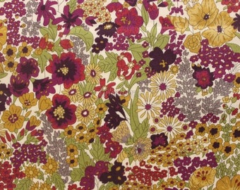 Liberty tana lawn printed in Japan - Margaret Annie - Plum olive green mix