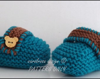 KNITTING PATTERN - Baby Loafer Booties - Sizes Birth to 3 months  Easy Knit