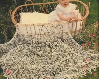 Baby Shawl Knitting Pattern - Heirloom Shetland Lace Shawl Christening Baptism Blessing 2 ply