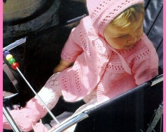 SALE**** Baby Knitting Pattern  - Pram Set to fit 18 ins - Jacket Leggings Longies Bonnet Bootees/Booties