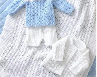 Baby Knitting PATTERN - Jacket, Shawl, Sweater and Shorts - Prem sizes - 12- 18 ins