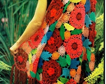 Vintage Retro CROCHET PATTERN - Colourful Floral Shawl Boho PDF