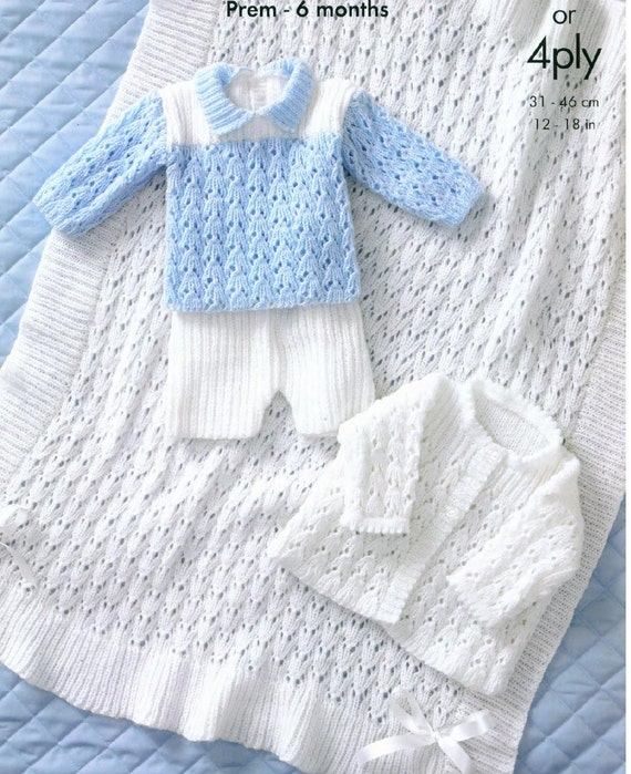 Baby Knitting PATTERN Jacket Shawl Sweater and Shorts