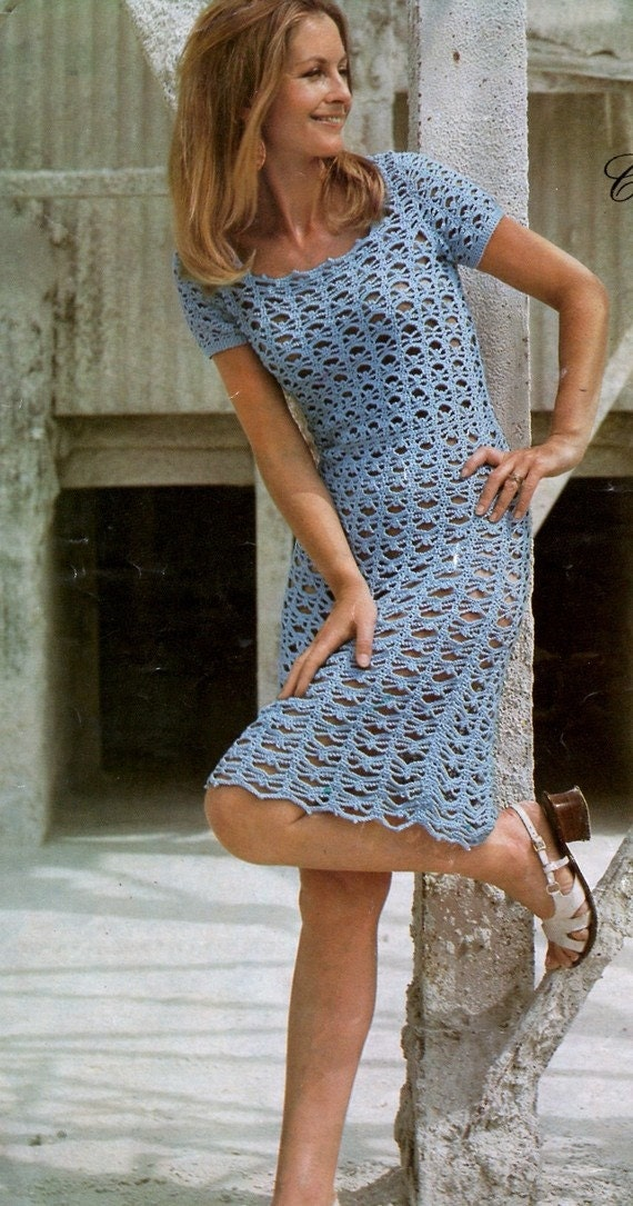 Crochet Pattern Ladies Lacy Dress Retro Boho Vintage 70s