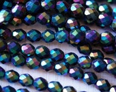 8mm Fire Polished Beads - Jet Double Sided AB -  Faceted Beads - Czech Glass - Iris Beads