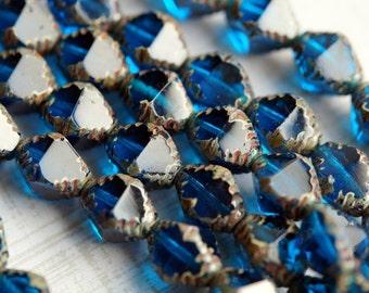 Premium Czech Glass Beads - Carved Bicone Beads - Czech Glass Beads - Capri Blue Picasso - Bead Soup Beads