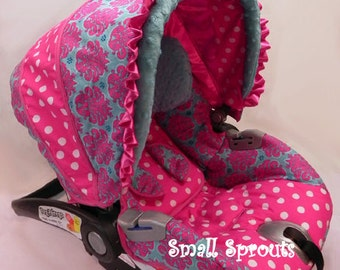 Turquoise and Hot Pink Damask/Polka Dot/Aqua Minky Dot Infant Eddie Bauer SureFit 35 Car Seat Cover-Ready To Ship