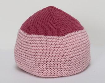 Handknit Pink Wide Brim Baby Hat