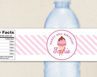 Ice Cream Party - 100% waterproof personalized water bottle labels