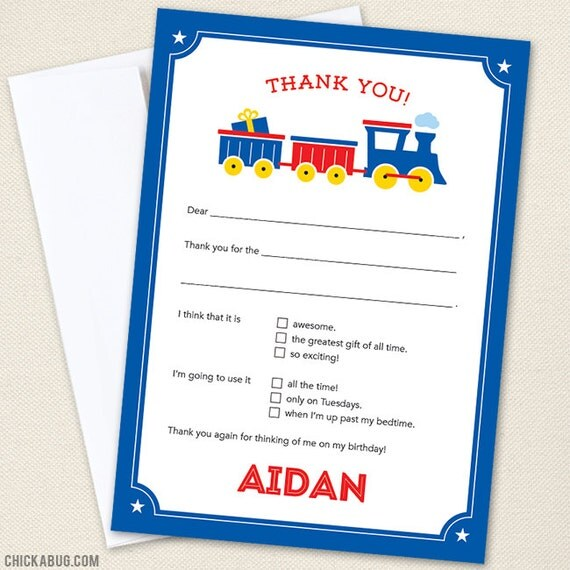 Train Thank You Cards - Professionally printed *or* DIY printable