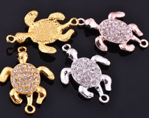 5pcs 35X24mm Metal Alloy Small Turtle Shape Crystal Rhinestone Bracelet Connector Charms Craft Jewelry Making Findings --- DZ005