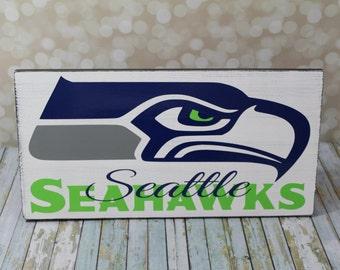 Seattle Seahawks Wood Sign, Football sign Team sign, Go Seahawks. 12th Man
