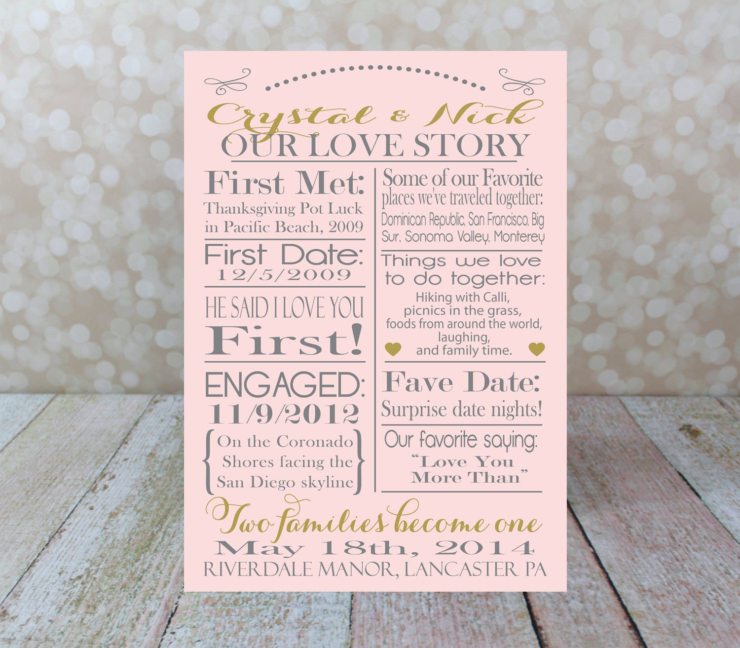 Our Love Story Wedding Idea: Custom Our Love Story Wedding Typography Poster Personalized