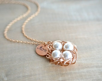 Mom's Birdnest Pendant - 4 Pearls Wrapped in Rose Gold - Choose Your PEARL COLOR - mom, mother, grandmother, kids, children, Mother's Day