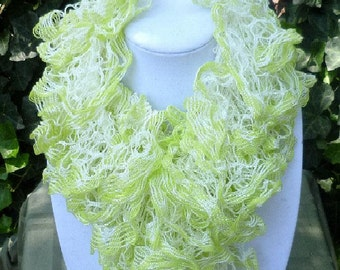Hand Knit Ruffle Scarf - Hand Knit Lace Scarf- Hand Knit Womens Scarf- Spring Scarf