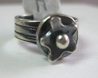 Sterling Silver Precious Metal Clay Ring Flower Size 2 1/2