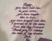 MOTHER in LAW SCRIPT Heirloom Personalized Wedding Handkerchief Custom Embroidered Lace