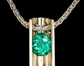 AAA Grade Blue Green Tourmaline Handmade Argentium Tension Set Statement Necklace