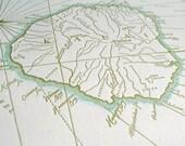 Kauai, Hawaii, Letterpress Printed Map