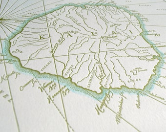 Kauai, Hawaii, Letterpress Printed Map