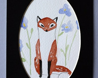 Fox in the garden original watercolor, red fox with blue flowers, children's art, woodland creature, small art