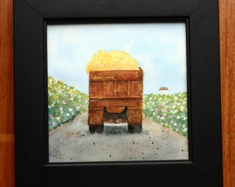 Lemon truck, original watercolor, rusted truck with lemons, fruit, yellow and brown, road in Belize, kitchen art, square, citrus