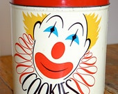 Vintage Happy Clown Cookie Tin