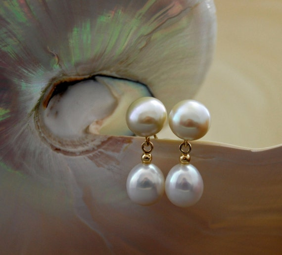 Kira - pearl earrings,dangle earrings, earrings, solid gold, wedding, anniversary, for her, gift, pearl jewelry, birthday, stud earring