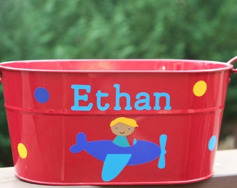 Personalized Easter or toy pail for boys or girls - Airplane and bunny with Easter eggs or polka dots